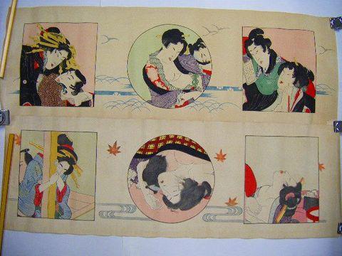大正 浮世絵 大判 春画『彩色 木版 艶画 6画』絹本