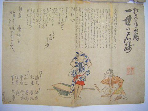 江戸 浮世絵 芸能『能楽 小謡 刷り物 2点』萬歳