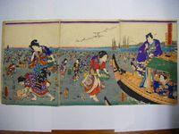 江戸 浮世絵 豊国 国貞『足利絹手染乃紫 弥生3枚組』