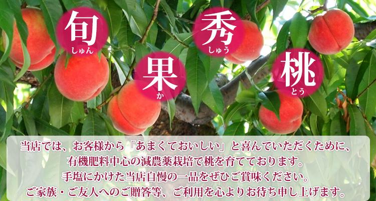 当店では、お客様から「あまくておいしい」と喜んでいただくために、有機肥料中心の減農薬栽培で桃を育てております。手塩にかけた当店自慢の一品をぜひご賞味ください。