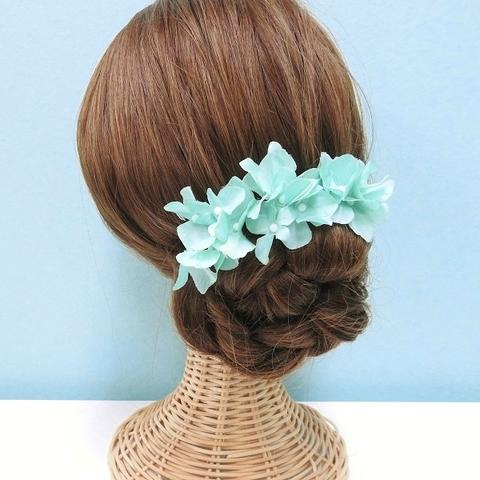 * 【7点セット】髪飾り 紫陽花(アップルグリーン)*