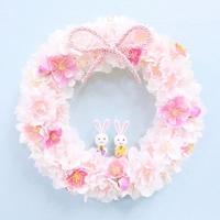 * 満開の桜と桃の花リース(ひな祭り) *