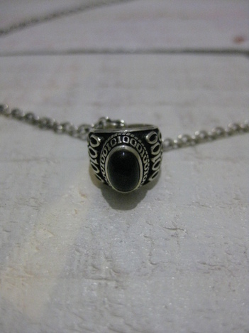 【JAM HOME MADE 】BABY COLLEGE RING NECKLACE -ONYX-