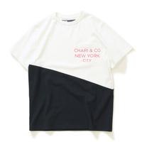 【CHARI&CO】SLOPE BI-TONE PKT TEE(OFF WHITE×BLACK)