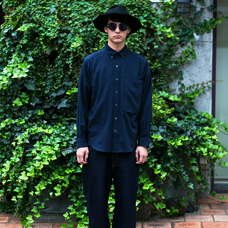 【SAY】HYBRID OXFORD SHIRTS(NAVY)