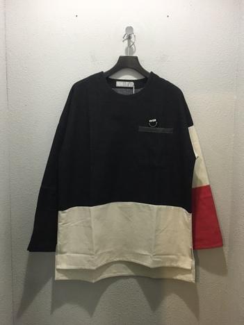 【OVER THE STRiPES】コットンフラノ袖配色プルオーバー