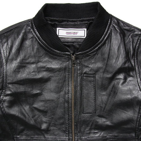 【SR'ES】RIBBED NECK LEATHER JACKET