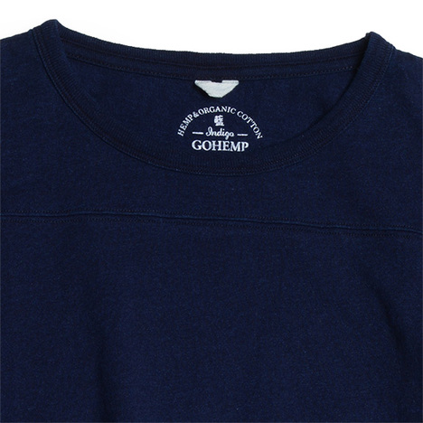 【GO HEMP】BASIC FOOTBALL TEE/INDIGO DYE