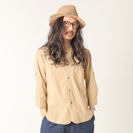 【GO HEMP】MEDITATION SHIRTS/HEMP COTTON GAUZE(earth color dyed)