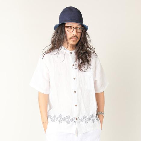 【GO HEMP】 YURURI NO COLLAR SHIRTS/麻柄刺繍 series