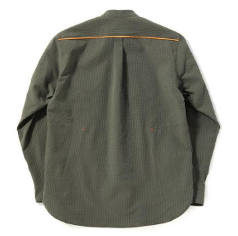 【narifuri】ストレッチシアサッカーバンドカラーシャツ