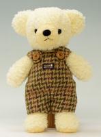 クマのフカフカ・クリームMグリーンサロペット29cm(日本製)