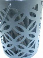 インテリア消臭竹炭黒メタル容器入り高さ15cm