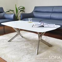 dow2063】 テーブル リビングテーブル『120リビングテーブル SOFIA』 ガラステーブル センターテーブル 120 ホワイト