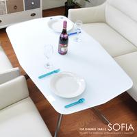 dow2064】 テーブル ダイニングテーブル『120ダイニングテーブル SOFIA』 ガラステーブル 食卓 120 ホワイト