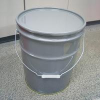 20L鉄製オープンペール缶(蓋・外レバーバンド付)グレー