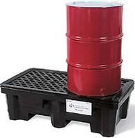 【代引不可商品】スタンダードポリスビルコンテイメントパレット 2ドラム缶用/ドレンつき  am1p