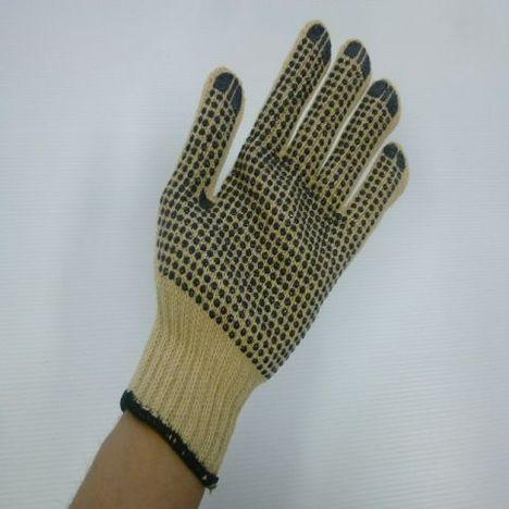 滑り止めアラミド軍手 再生アラミド3本編滑り止め付軍手(1ダース)耐切創性・耐熱性に優れた手袋 ケブラー手袋