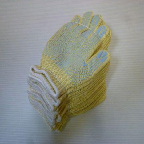 滑り止めアラミド軍手 アラミド滑り止め付シリコンボツ軍手(10双) 耐切創性・耐熱性に優れた手袋 ケブラー手袋