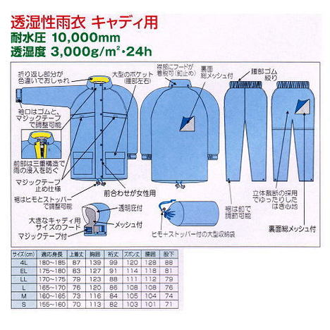【富士ビニール工業】レインストーリー340(S~EL)・上下セット・耐水圧10,000mm・透湿性3,000g/㎡(24h)・女性用ゴルフレインウェアです!キャディさん向け製品【雨合羽】
