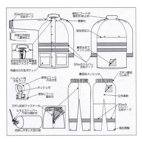 【富士ビニール工業】レインストーリー545(S~EL)・上下セット・多機能型・反射テープ付の作業用レインウェアです!・降雨時の警備や交通整理にどうぞ!【雨合羽】