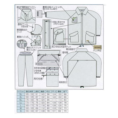【富士ビニール工業】スピンザーコート(S~EL)・上下セット・多機能型・4色から選べるレインウェアです!【雨合羽】