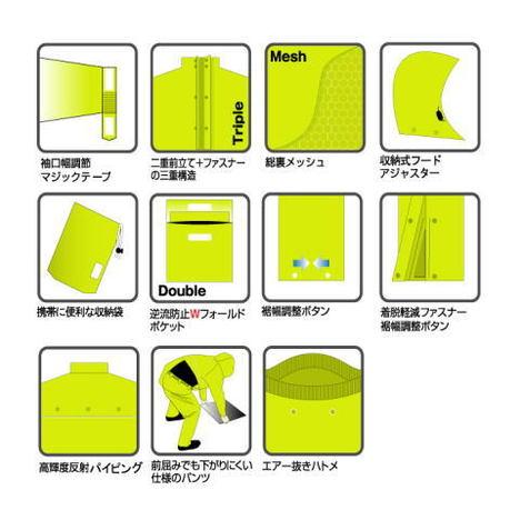 【アーヴァン】9000 BREATHATEC-ブリザテック-(M~3L)・上下セット・耐水圧10,000mm・透湿度10,000g/㎡(24h)・超高性能及び多機能です!カラーは全5色!【雨合羽】