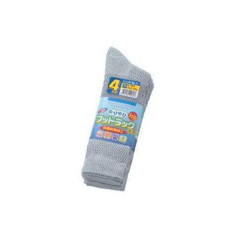 【富士グローブ】S-184 のびのびフットラック足楽メッシュ先丸グレー靴下4足組×10セット(40足分)【サイズ24.5cm~27cm】