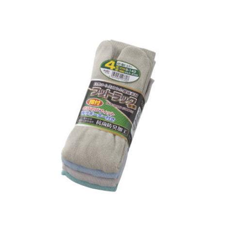 【富士グローブ】S-143 のびのびフットラック足楽指付カラー靴下4足組×10セット(40足分)・抗菌防臭加工です!【サイズ24.5cm~27cm】