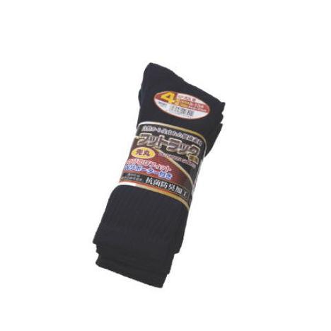 【富士グローブ】S-134 のびのびフットラック足楽先丸紺靴下4足組×10セット(40足分)・抗菌防臭加工です!【サイズ24.5cm~27cm】