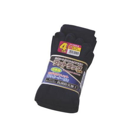 【富士グローブ】S-122 のびのびフットラック足楽5本指紺靴下4足組×10セット(40足分)・抗菌防臭加工です!【サイズ24.5cm~27cm】