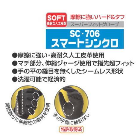富士グローブ SC-706スマートシンクロ(10双)・新感覚スーパーフィットグローブ・高耐久人工皮革を使用!