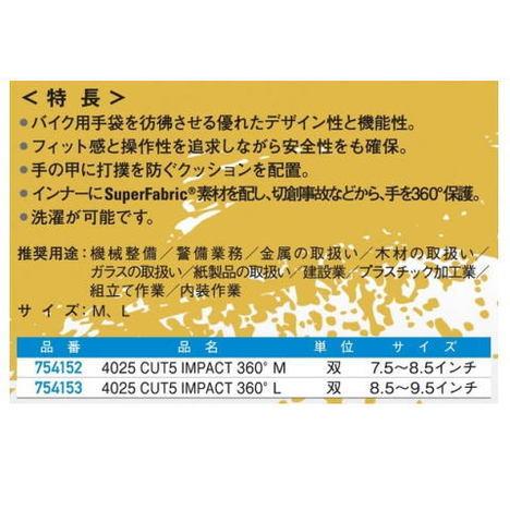 【HexArmor】4025 CUT5 IMPACT 360°・耐切創・耐衝撃・耐摩耗【ヘックスアーマー手袋】
