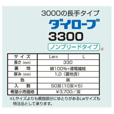 ダイローブ3300(10双) 耐溶剤用手袋 静電気対策用手袋 ポリウレタン製 裏地付 ノンブリードタイプ ロングタイプ(長さ33cm) 静電手袋 ダイヤゴム