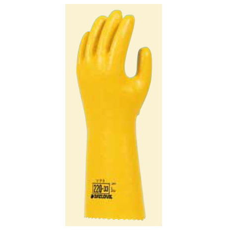 ダイローブ220-33(10双) 耐油用手袋 ポリウレタン製 裏地付 ロングタイプ 滑り止めシワ加工 ダイヤゴム