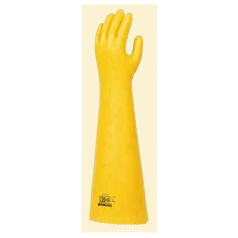 ダイローブ220-55(1双) 耐油用手袋 ポリウレタン製 裏地付 ロングタイプ(長さ55cm) 滑り止めシワ加工 ダイヤゴム