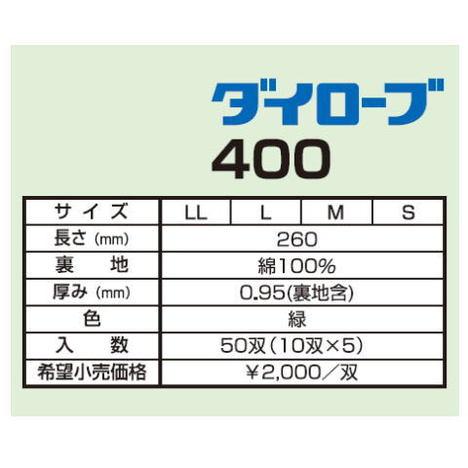 ダイローブ400(10双) 耐溶剤用手袋 ポリウレタン製 裏地付 ダイヤゴム