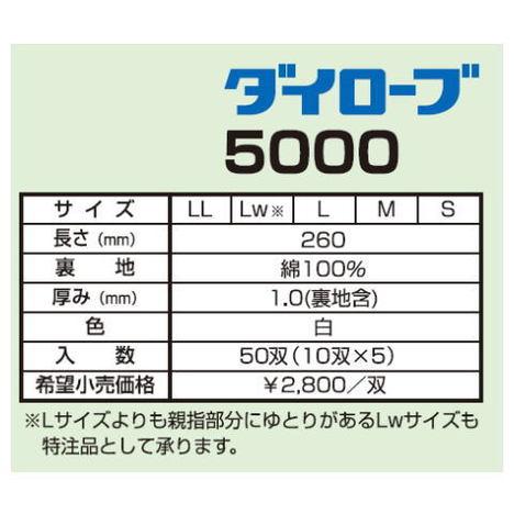 ダイローブ5000(10双) 耐溶剤用手袋 ポリウレタン製 裏地付 ダイヤゴム