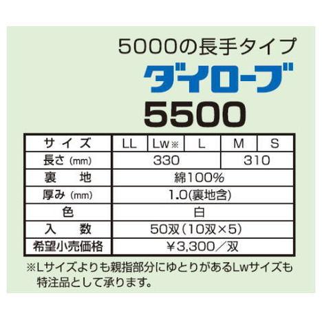 ダイローブ5500(10双) 耐溶剤用手袋 ポリウレタン製 裏地付 ロングタイプ ダイヤゴム