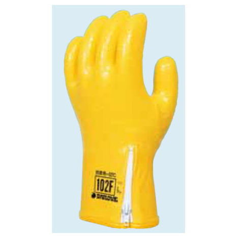 ダイローブ102F(10双) 防寒用手袋 ポリウレタン製 裏地付 滑り止め粒子付 ファスナー付 インナー脱着タイプ CEマーキング