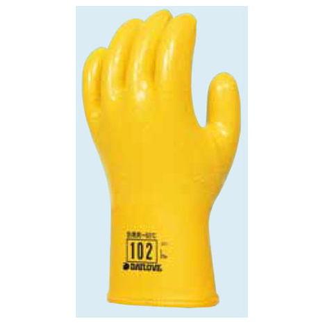 ダイローブ102(10双) 防寒用手袋 ポリウレタン製 裏地付 滑り止め粒子付 CEマーキング ダイヤゴム