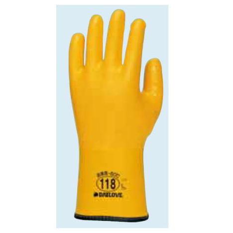ダイローブ118(10双) 防寒用手袋 ポリウレタン製 裏地付 滑り止め粒子付 ダイヤゴム