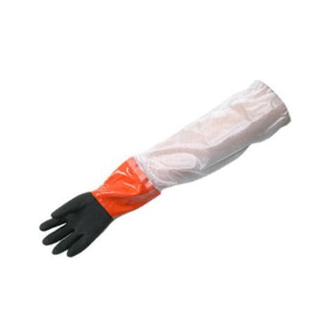 【三重化学工業】ソフトボアツートン・ロング(防寒)(10双)・腕カバー付ビニール手袋・防寒手袋にロング加工をしたタイプです。【ミエローブ】