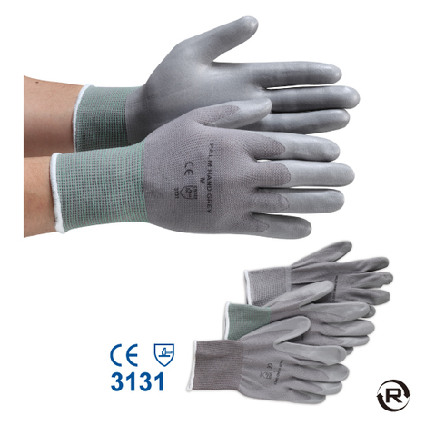 NBR発泡パームハンドグレー手袋(10双)・二トリルコーティング手袋