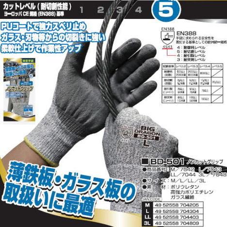 富士グローブ BD-501ノンカットグリップ(10双) ガラスや刃物などの切裂きに強いPUコート手袋 プリカチューブ電線管のカット プリカナイフ作業 ヨーロッパCE規格(EN388)レベル5