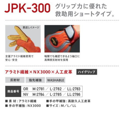 耐切創アラミド災害救助グローブ PROHANDS JPK-300 災害救助用手袋 グリップ力、耐磨耗性に優れた救助用ショートタイプ プロハンズ