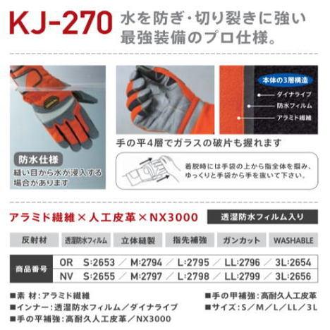 防水レスキュー手袋 切り裂きに強い反射材付グローブ PROHANDS KJ-270 プロハンズ S 女性 3L 特大 サイズ 対応