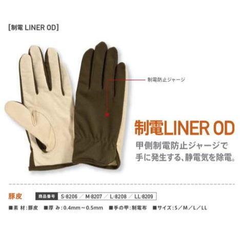 静電防止豚皮ナイロン手袋 PROHANDS 制電ライナー手袋OD 甲側制電防止ジャージで手に発生する静電気を除電します。 プロハンズ