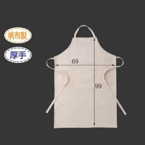 帆布胸当前掛(10枚) 布製エプロン 厚手タイプ 高さ99cm×横幅69cm 大きめ 特大 L サイズ CAN-002 富士グローブ