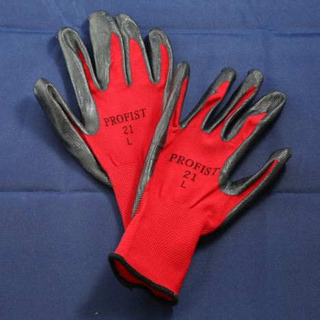 二トリル背抜き手袋(10双) 二トリルコーティング手袋 赤と黒の2色があります。